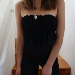 Thrifted Black Cinched Strapless Top